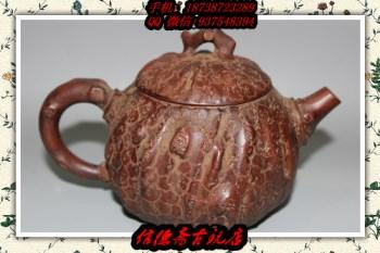 纯紫砂泥 全手工 树皮供春壶 古玩收藏宜兴老紫砂壶 包浆漂亮-中国收藏网
