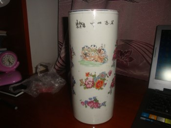 """晚清名家李福泰制印花""""婴戏花卉""""图帽筒-收藏网"""