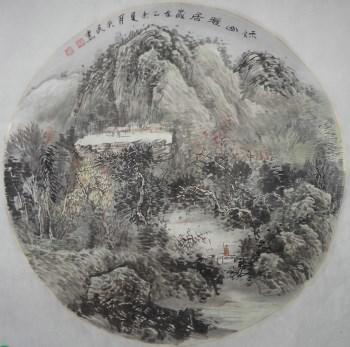 画家王英民国画小品秋山雅居图-中国收藏网