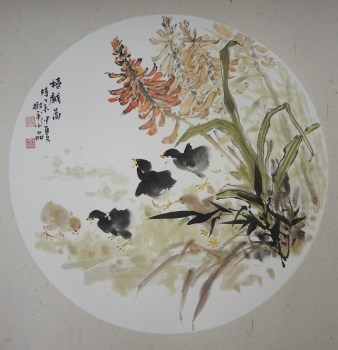 画家张淑平小写意花鸟画嬉戏图 潍坊翰墨轩艺术画廊