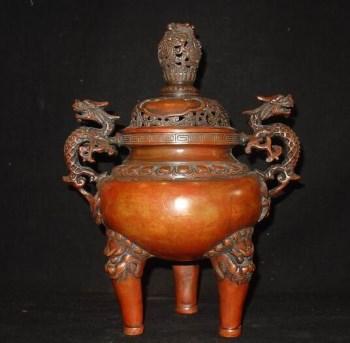 明清件 铜器 精品 大香炉 摆件 -收藏网