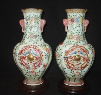 古玩老瓷器 一对五彩 瓷瓶-中国收藏网