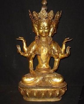 铜器 鎏纯金 四头八臂 大佛像 包老-收藏网