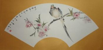 山东画家张淑平花鸟画小品闭门独赏一枝红-收藏网