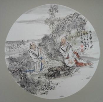 山东画家王英民精品国画小品高士对弈图-收藏网