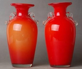 民国 橘红老料双耳花瓶一对-中国收藏网