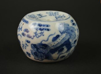 清光绪 青花狮子纹镇纸-中国收藏网