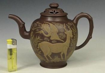清 康熙御制款泥绘福禄寿纹饰橄榄壶-中国收藏网