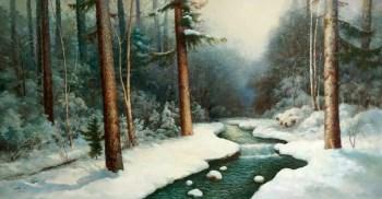 朝鲜油画《白雪青松》-中国收藏网