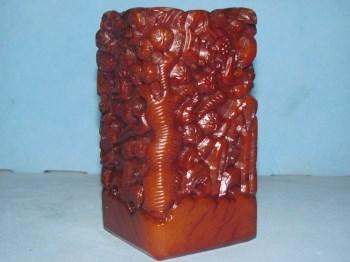 橘皮红田黄景物浮雕摆件-收藏网
