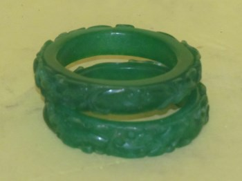 全绿翡翠双龙如意手镯一对-收藏网