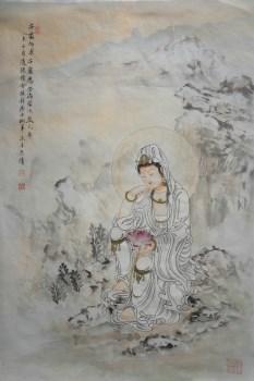 画家张淑平精品工笔人物画观音宝像-中国收藏网