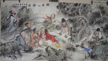 山东画家王英民精品人物画六尺饮中八仙图-中国收藏网