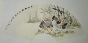 张淑平花鸟画扇面小品鸳鸯-中国收藏网