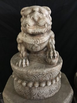 汉白玉石雕狮子一只-中国收藏网
