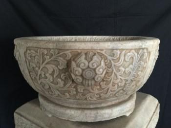 汉白玉石雕圆缸-中国收藏网
