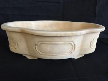 汉白玉石雕小盆-中国收藏网