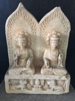 汉白玉石雕二佛并座-中国收藏网