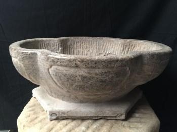 青石石雕海棠盆-中国收藏网