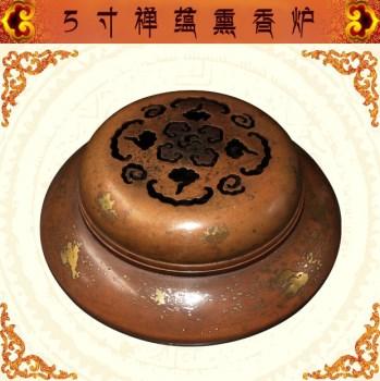 纯铜香炉南海香鼎香道器具熏香炉 紫铜仿古洒金5寸禅蕴-收藏网