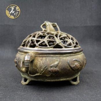 紫铜做旧-五蝠竹节炉-收藏网