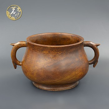栗壳紫铜-深腹草龙耳炉 -收藏网