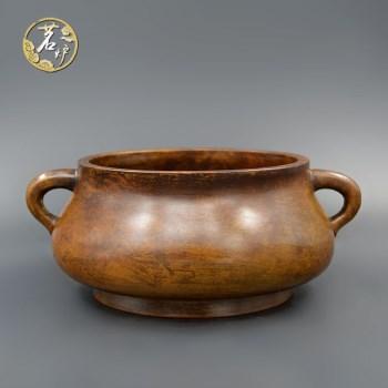栗壳紫铜-中蚰耳炉-收藏网