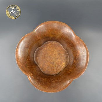 栗壳紫铜-狮首耳海棠式炉-收藏网