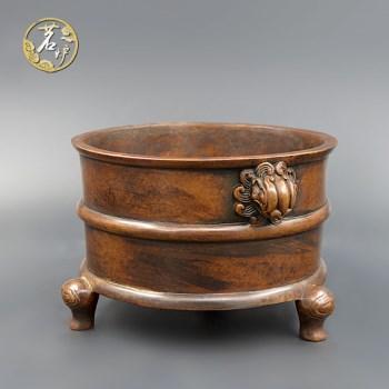 栗壳紫铜-三足天鸡炉 -收藏网