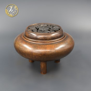 栗壳紫铜-三足平盖熏炉-收藏网