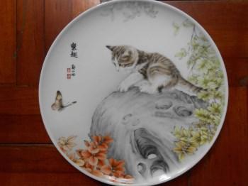 猫 手绘彩绘瓷盘工笔-收藏网