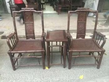 酸枝木竹节椅子三件套-中国收藏网