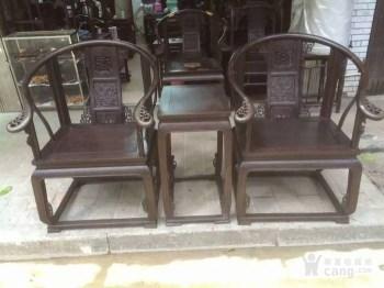 酸枝木黄官椅三件套-中国收藏网