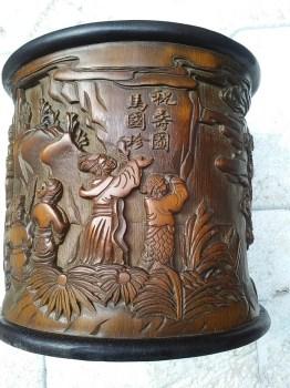 老竹子雕八仙祝寿图笔筒-中国收藏网
