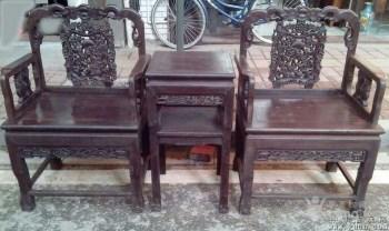 酸枝木雕麒麟椅三件套-中国收藏网