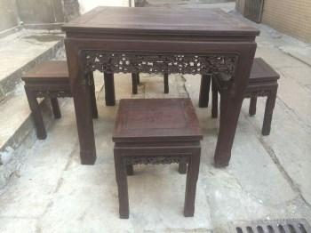 酸枝木八仙桌子一套 编号:JY10410773-中国收藏网