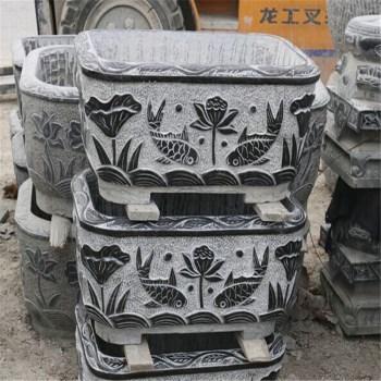 供应 青石仿古石雕荷花花盆 鱼缸 鱼池-中国收藏网