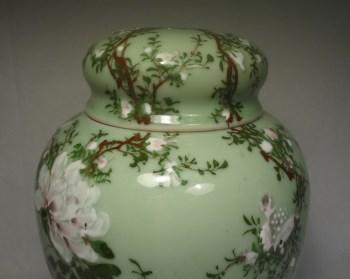 k974花鸟纹豆绿釉特大茶叶盖罐-收藏网