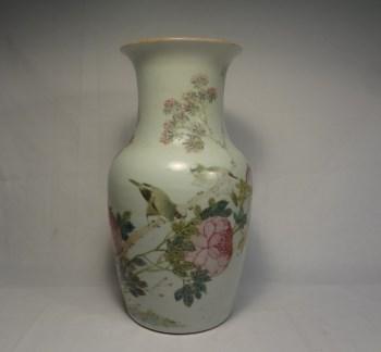 K1060民国浅降彩富贵白头瓶-中国收藏网