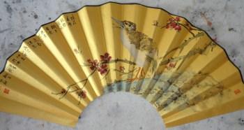 著名花鸟画家张淑平精品花鸟画扇子-中国收藏网