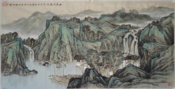 当代著名山水画家程振铎国画山水山泉洗尽风尘色-中国收藏网
