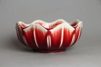 景德镇建国瓷厂60年代柴窑郎红釉莲花口洗-收藏网