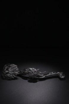 小叶紫檀竹节纹如意摆件-收藏网