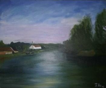 名画家带框布面油画《河边一景》-收藏网