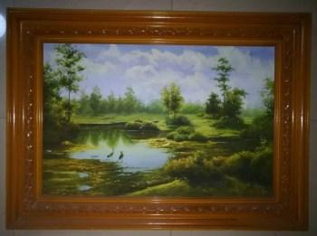 油画家带内外框风景老油画《池塘》-收藏网