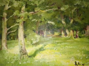 名画家风景布面油画《绿地》-收藏网