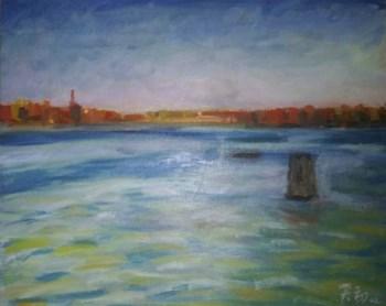 著名画家带框布面油画《湖光》-收藏网