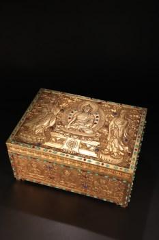旧藏,【铜鎏金藏经盒】-收藏网