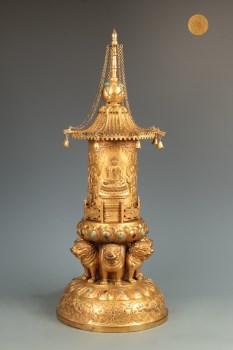 明 精铸铜胎鎏金舍利宝幢-收藏网