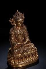 晚清 藏传 铜鎏金 无量长寿佛-收藏网